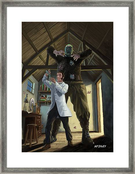 Monster In Victorian Science Laboratory Framed Print