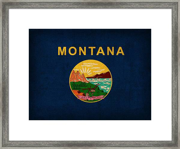 Montana State Flag Art On Worn Canvas Framed Print