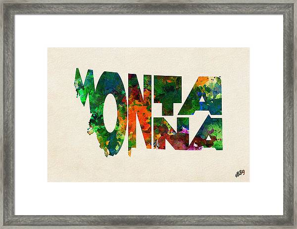 Montana Typographic Watercolor Map Framed Print