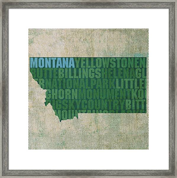 Montana Word Art State Map On Canvas Framed Print
