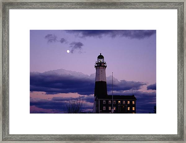 Montauk Lighthouse With Moon Framed Print