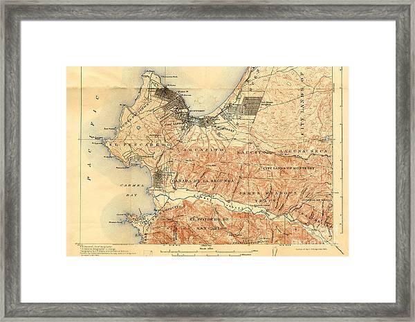Monterey And Carmel Valley  Monterey Peninsula California  1912 Framed Print