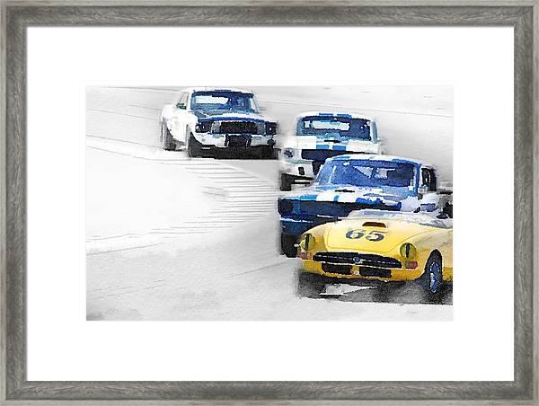 Monterey Racing Watercolor Framed Print