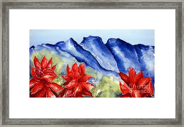 Monterrey Mountains With Red Floral Framed Print