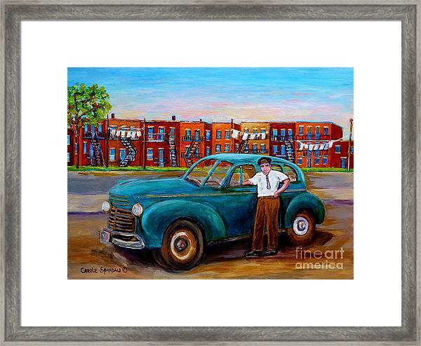 Montreal Taxi Driver 1940 Cab Vintage Car Montreal Memories Row Houses City Scenes Carole Spandau Framed Print