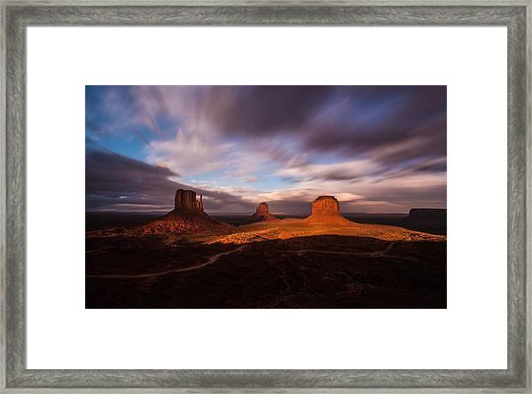 Monument Skys Framed Print