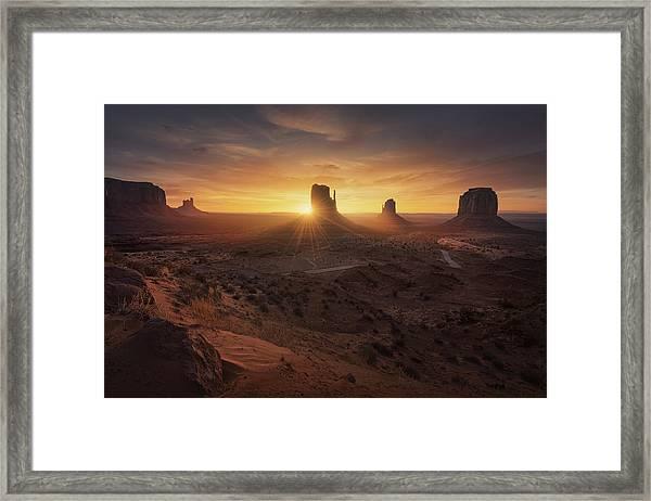 Monument Sunrise. Framed Print