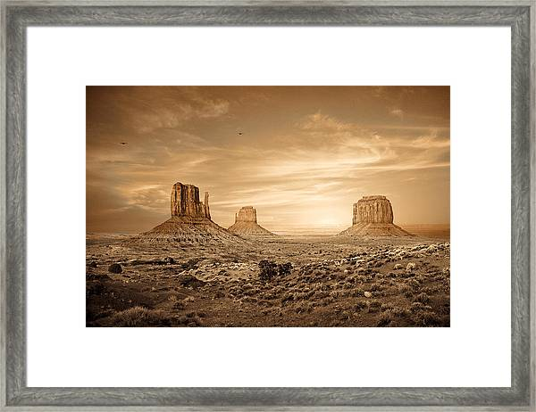 Monument Valley Golden Sunset Framed Print