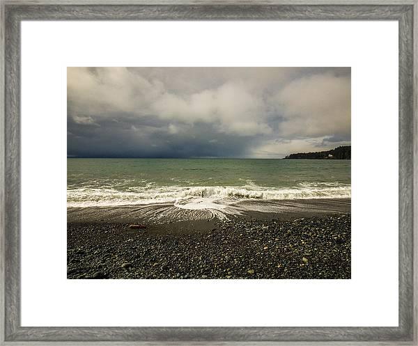 Moody Swirl French Beach Framed Print