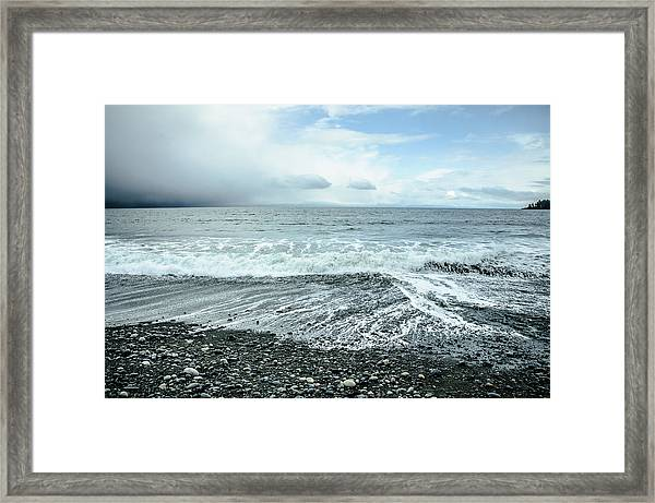Moody Waves French Beach Framed Print