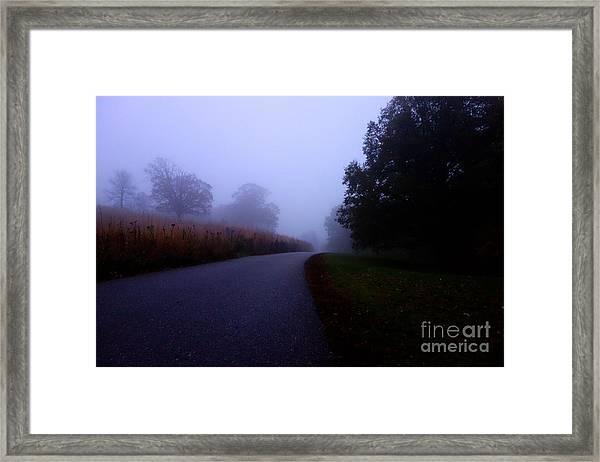 Moody Autumn Pathway Framed Print