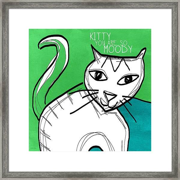 Moody Cat- Pop Art Framed Print