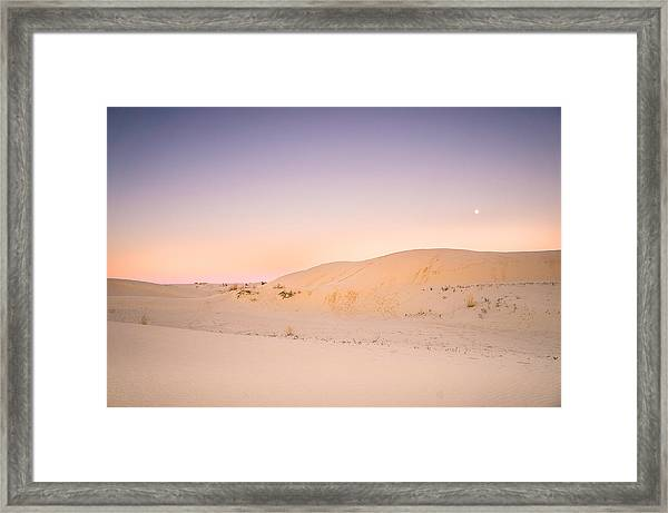Moon And Sand Dune In Twilight Framed Print