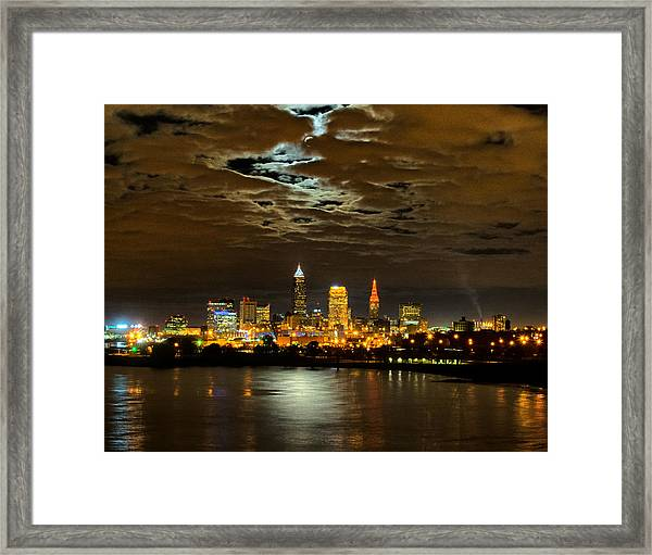 Moon Clouds Over Cleveland Framed Print