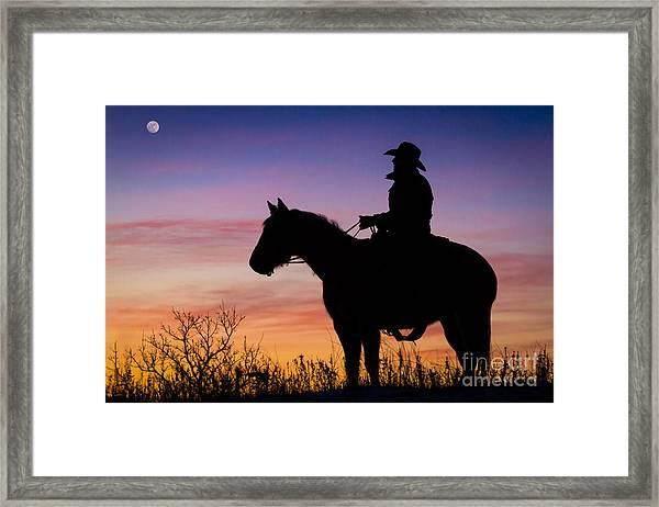 Moon On The Range Framed Print