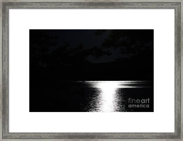 Moon On Waterton Lake Framed Print