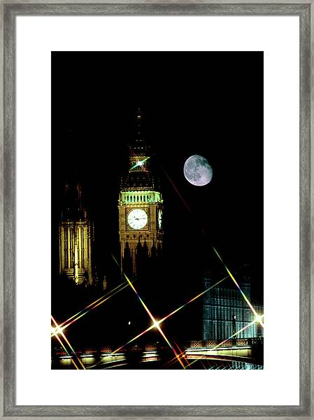 Moon Over Big Ben Framed Print by Robin Scagell/science Photo Library