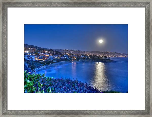 Moon Over Crescent Bay Beach Framed Print