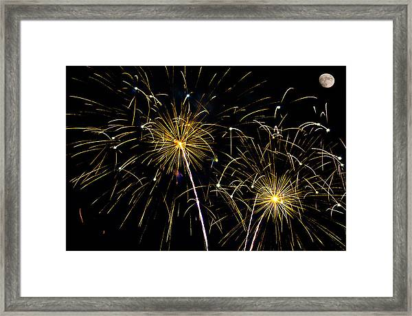 Moon Over Golden Starburst- July Fourth - Fireworks Framed Print