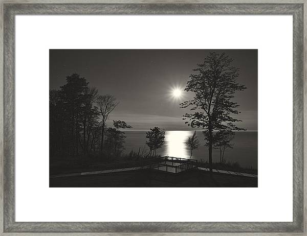 Moon Over Lake Michigan In  Black And White Framed Print