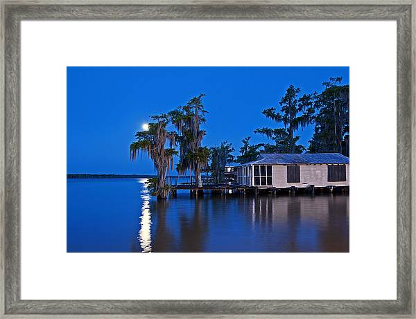 Moon Over Lake Verret Framed Print