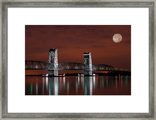 Moon Over Marine Parkway Bridge - Gil Hodges Memorial Bridge Framed Print