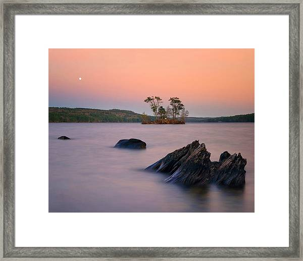 Moon Over Moose Framed Print