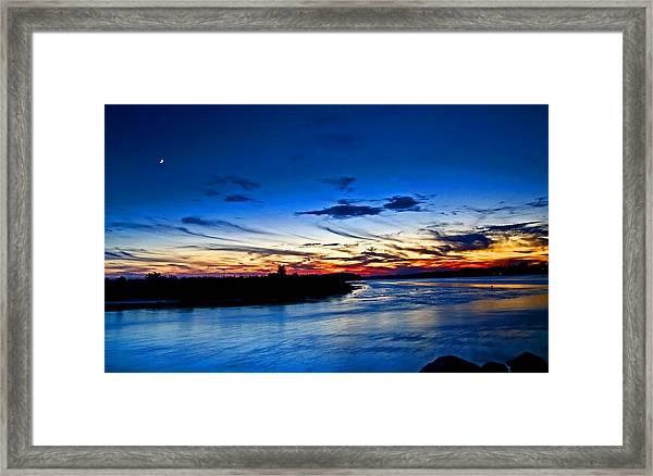 Moon Over Quonochontaug Pond Framed Print