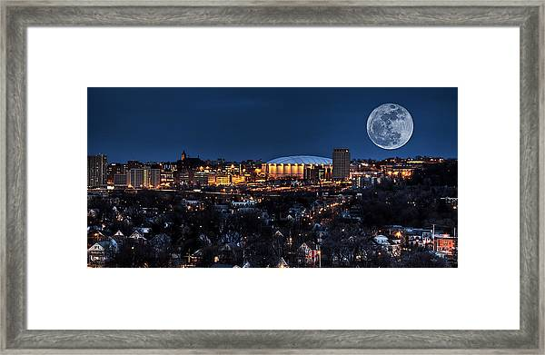 Moon Over The Carrier Dome Framed Print