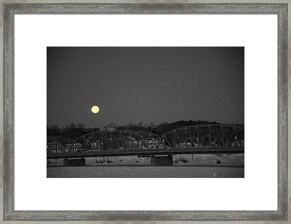 Moon Over The Steel Bridge Framed Print