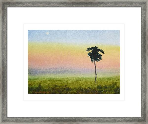 Moon Palm Framed Print