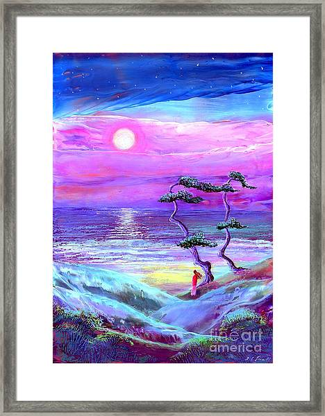 Moon Pathway,seascape Framed Print