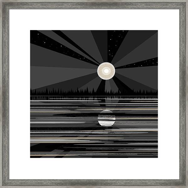 Moon Rise - Black And White Framed Print
