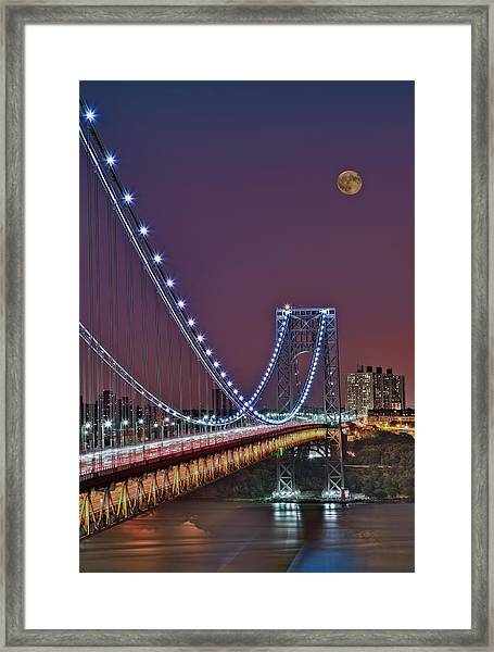 Moon Rise Over The George Washington Bridge Framed Print