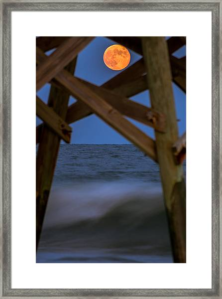 Framed Print featuring the photograph Moon Rise Under Pier by Francis Trudeau