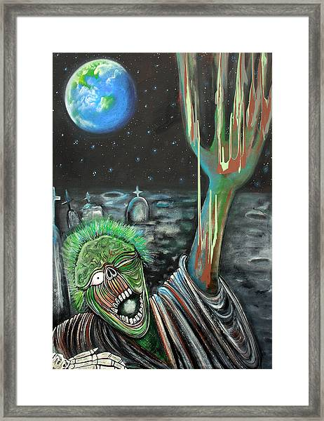 Moon Zombie Framed Print by Laura Barbosa