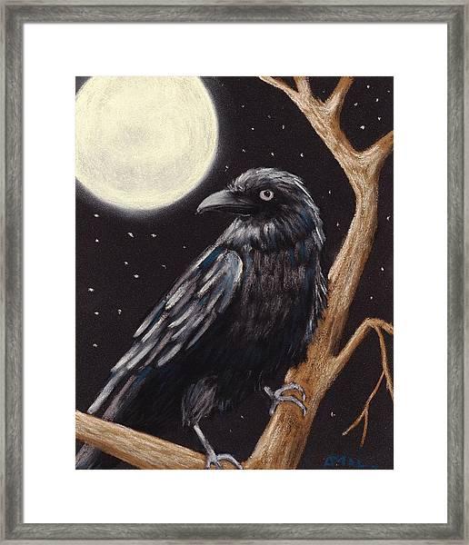Moonlight Raven Framed Print