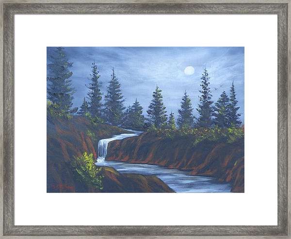 Moonlit Falls Framed Print