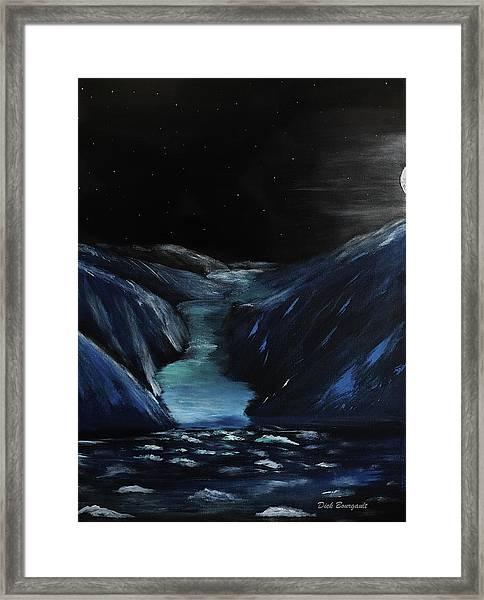Moonlit Glacier Framed Print