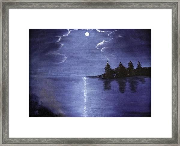 Moonlit Lake Framed Print