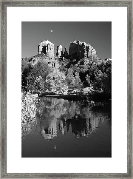Moonrise Over Cathedral Rocks Framed Print