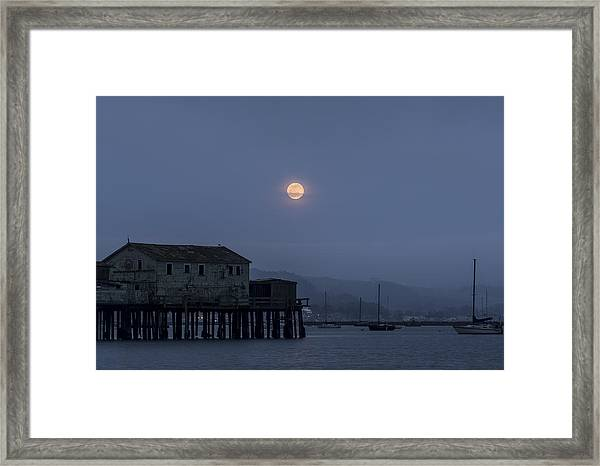 Moonrise Over The Harbor Framed Print