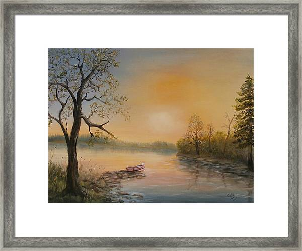 Moored At Sunset Framed Print