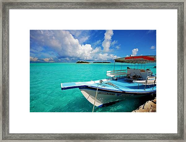 Moored Dhoni At Sun Island. Maldives Framed Print