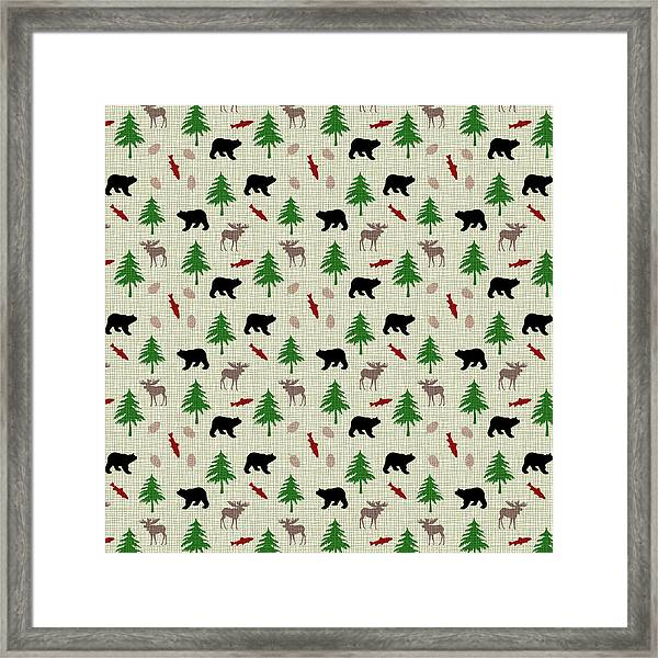 Moose And Bear Pattern Framed Print