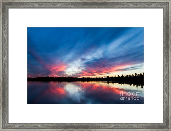 Moose Lake Sunset Framed Print