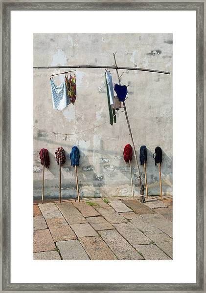 Mops And Laundry 1  Wuzhen China Framed Print