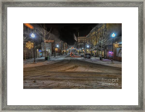 Morgantown High Street On Cold Snowy Night  Framed Print