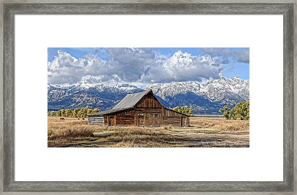 Framed Print featuring the photograph Mormon Barn With Horses by David Armstrong