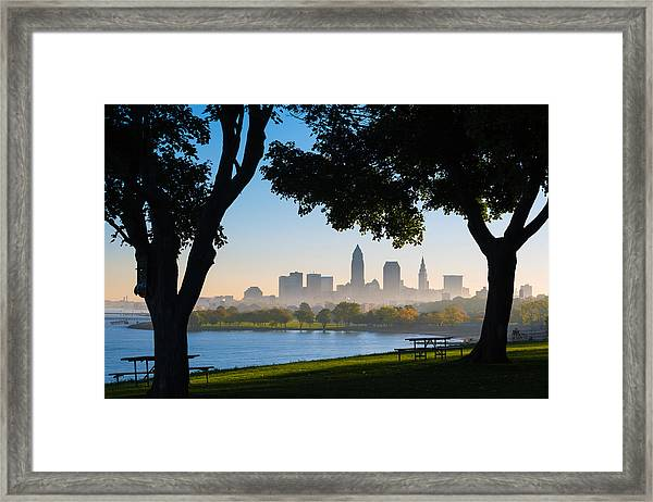 Cleveland Morning Fog Framed Print